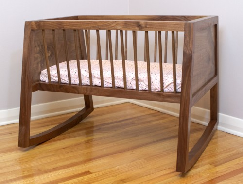Walnut Rocking Bassinet 1