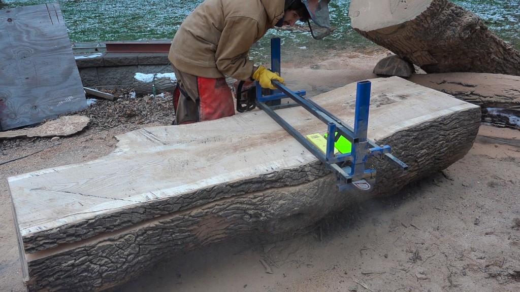 1 - slabbing the ash log
