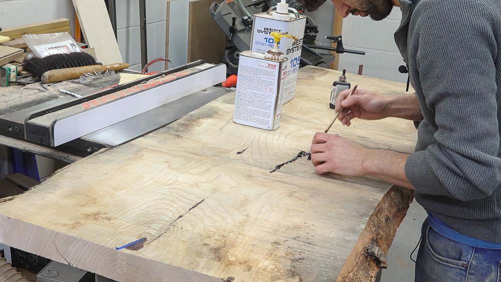 Live Edge Slab Top Outfeed Table Cabinet – Matt Cremona
